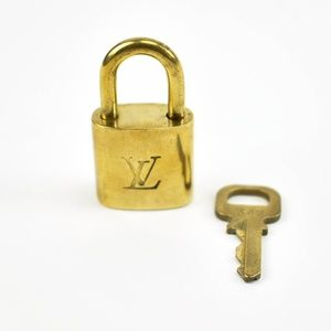 Louis Vuitton Gold Metal Padlock & Key Set #342 (M